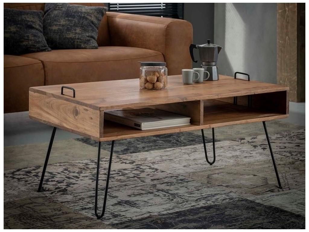 Table basse Aoni 2 en bois massif. Meuble pour le salon. Lotuséa