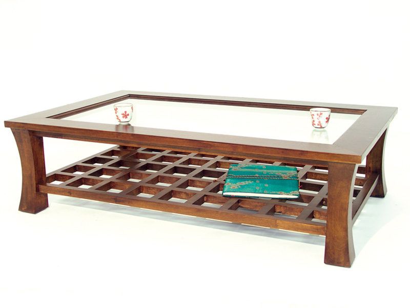 Table basse en hva lampang4 de qualit de thalande meuble for Vitre pour table basse