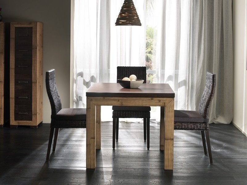table de repas carre extensible kuta bambou haut de gamme. Black Bedroom Furniture Sets. Home Design Ideas