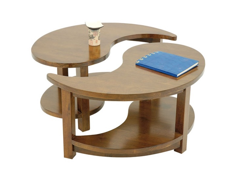 Table basse ronde en hva massif yala de qualit de thalande lotusa - Table basse ronde salon ...