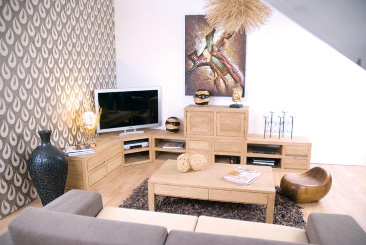 Meuble d 39 angle tak en hva massif de qualit de thalande - Meuble bas d angle salon ...