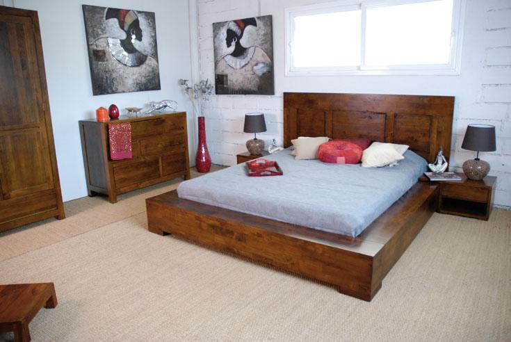 chevet en hva massif tak de qualit de thalande. Black Bedroom Furniture Sets. Home Design Ideas