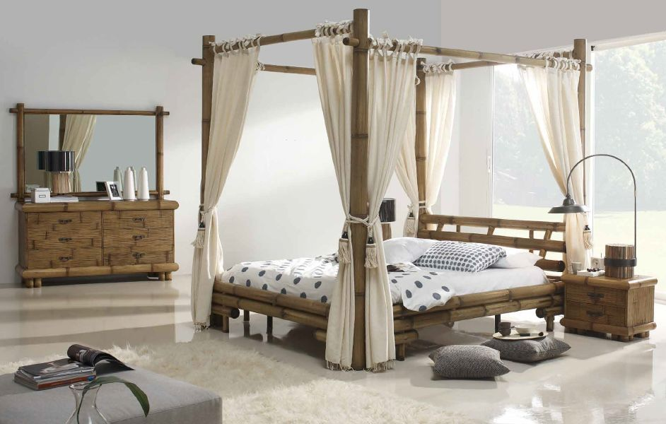 lit baldaquin symba en bambou haut de gamme d 39 indonsie lotusa. Black Bedroom Furniture Sets. Home Design Ideas