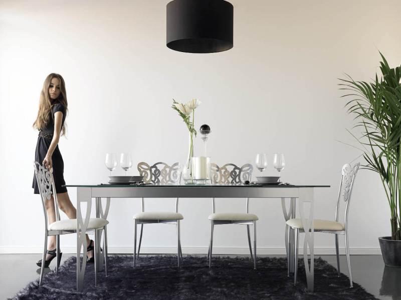 table de repas milos en fer forg haut de gamme meuble de salle manger lotusa. Black Bedroom Furniture Sets. Home Design Ideas