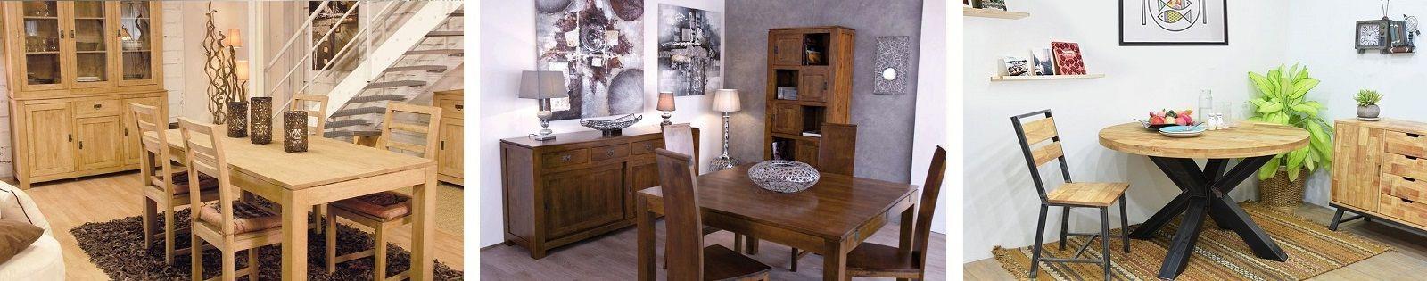 Table de salle à manger en hévéa massif, table, chaise et buffet de qualité - Lotuséa
