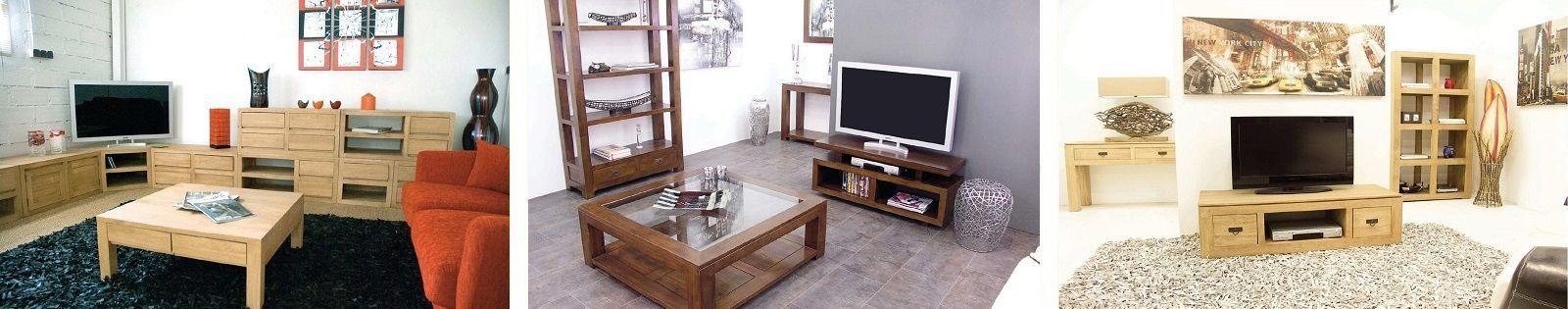 Meuble TV en hévéa massif de qualité, meuble tv d'angle - Lotuséa