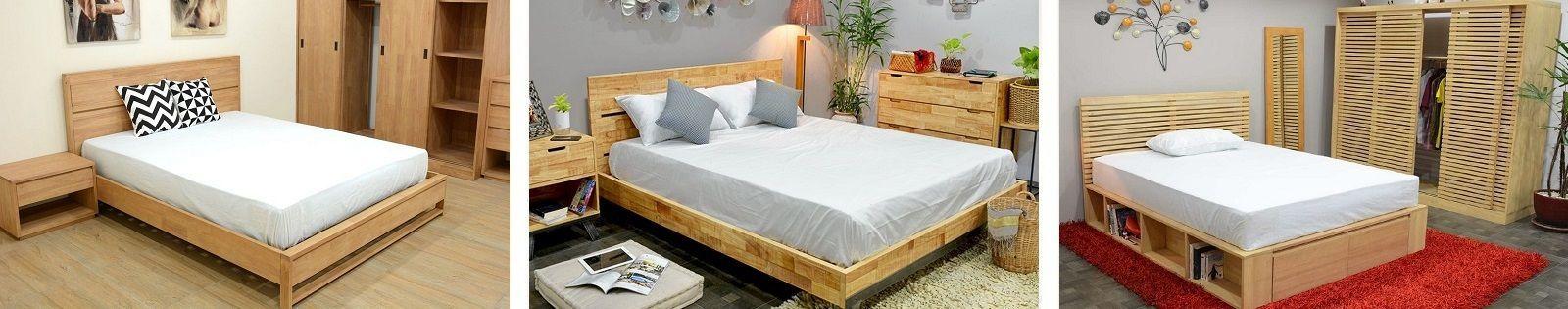 Chambre à coucher en Hévéa massif - Vente de lit, chevets et commodes - Lotuséa