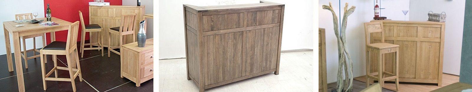 Bar en Hévéa massif : Meubles haut de gamme de fabrication artisanale