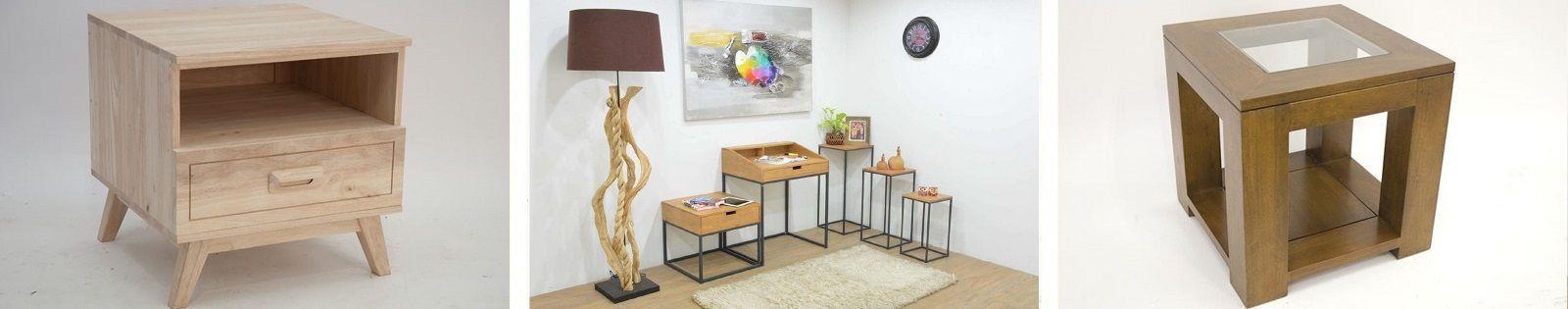 Bout de canapé en Hévéa : Haut de gamme de fabrication artisanale.
