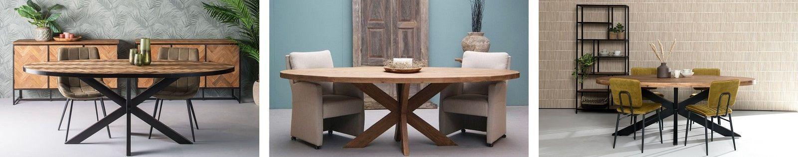Table de repas ovale en bois massif : acacia, chêne, hévéa, teck, manguier et en bambou, rotin, fer forgé