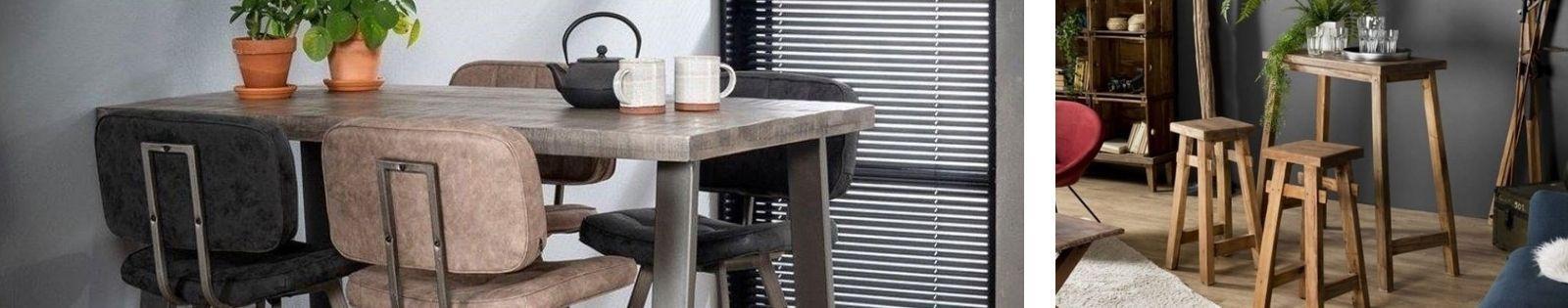 Table bar en bois massif : acacia, chêne, hévéa, teck, manguier