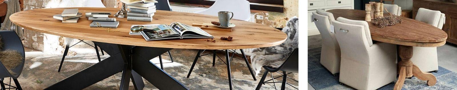 Table de repas ovale en bois massif : acacia, chêne, hévéa, teck, manguier
