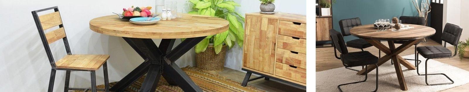 Table de repas ronde en bois massif : acacia, chêne, hévéa, teck, manguier