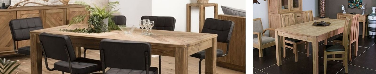 Table de repas rectangulaire en bois massif : acacia, chêne, hévéa, teck, manguier