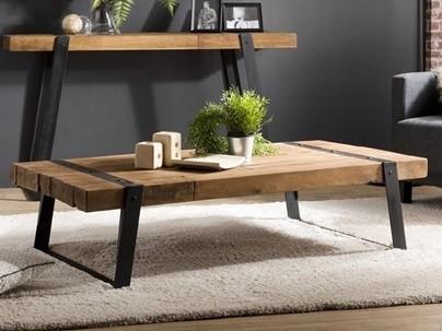 Table basse • Bout de canapé • Table d'appoint en bois recyclé