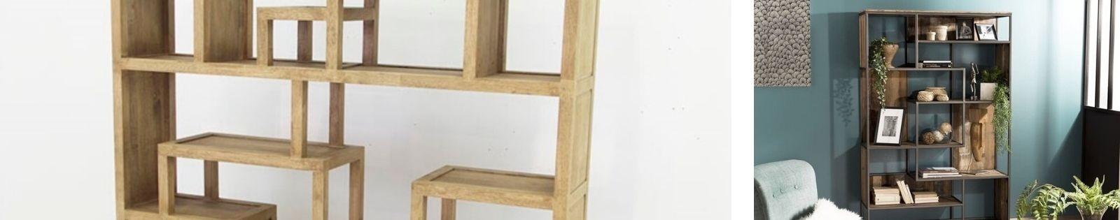 Bibliothèque en bois massif : acacia, chêne, hévéa, teck... Lotuséa