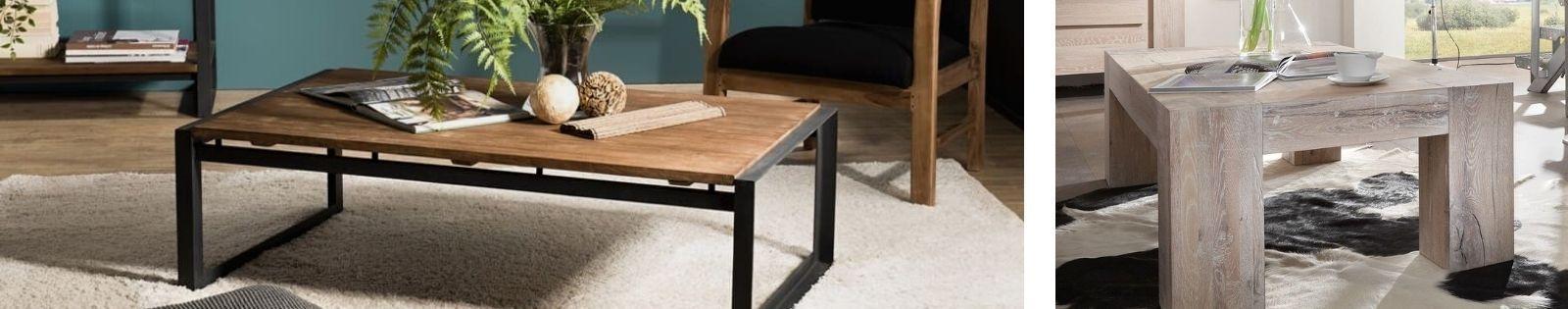 Table basse en bois massif : acacia, chêne, hévéa, teck... Lotuséa