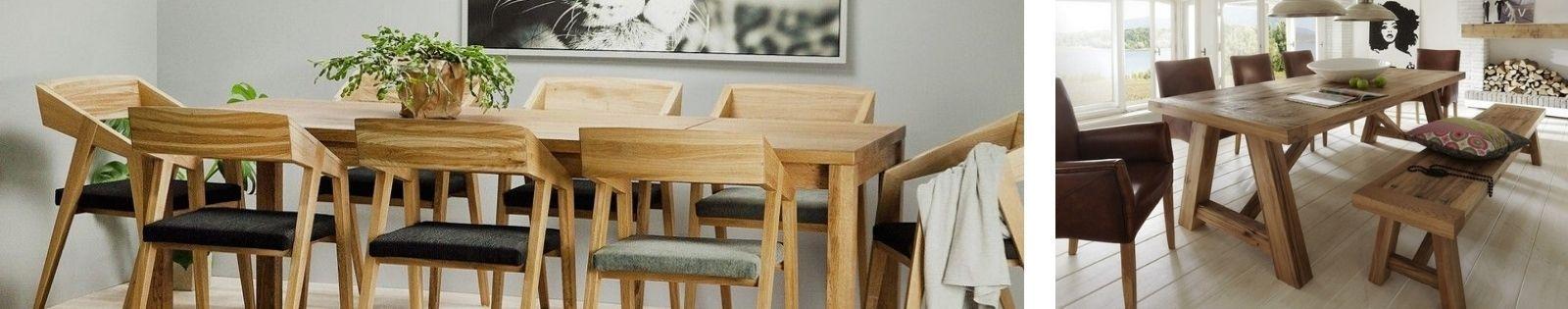 Table de salle à manger en bois massif : acacia, chêne, hévéa, teck...