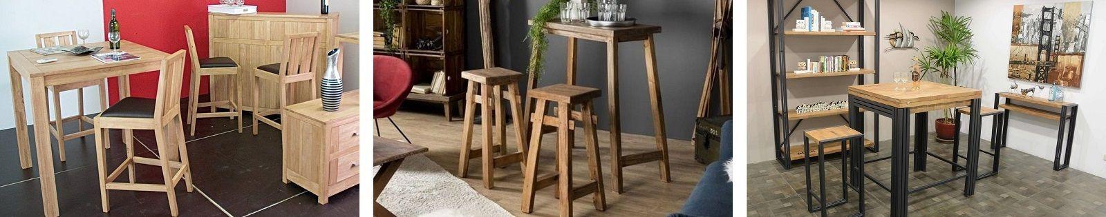 Table bar en bois massif : acacia, chêne, hévéa, teck, manguier et en bambou, rotin, fer forgé