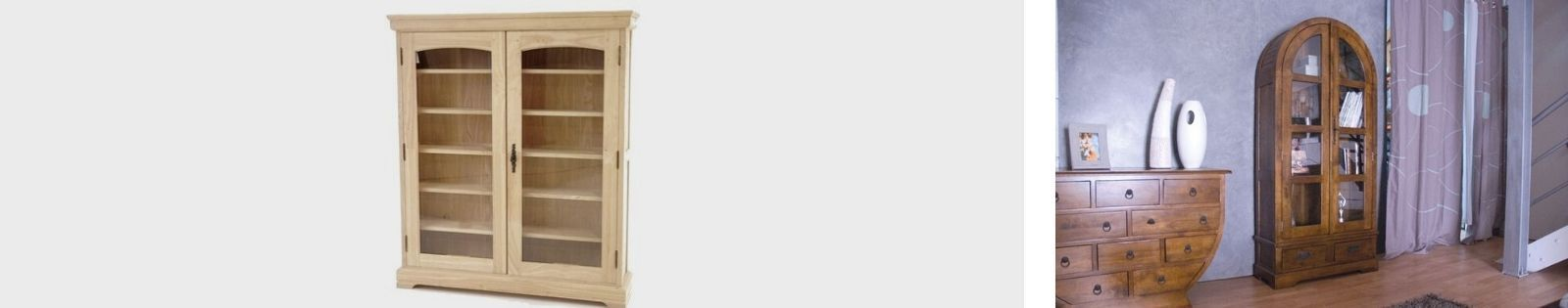 Vitrine en bois massif : chêne, hevea, acacia, teck, bambou, rotin. Meubles de salle à manger