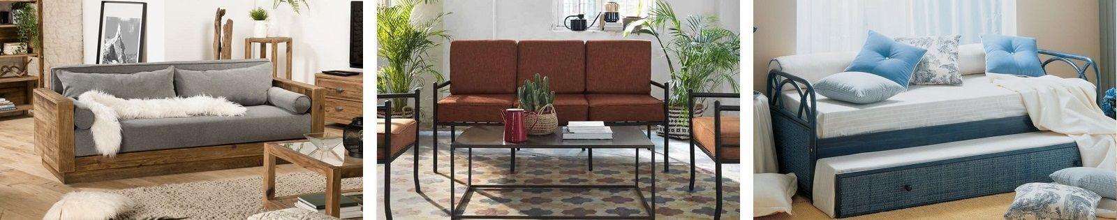 Canapé exotique de qualité en bambou, bananier, fer forgé, rotin, teck et cuir. Lotuséa