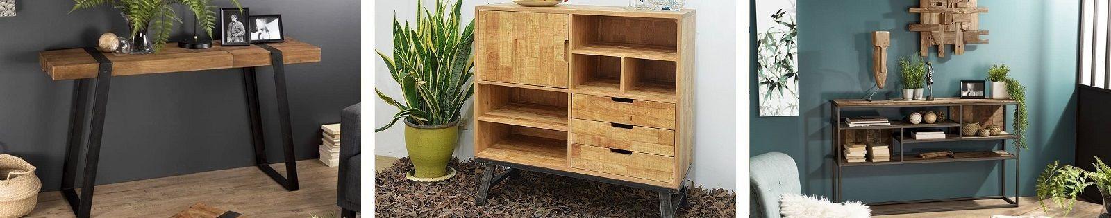 Console bois massif en teck, manguier, hevea, et exotique en bambou, rotin, fer forgé. Lotuséa