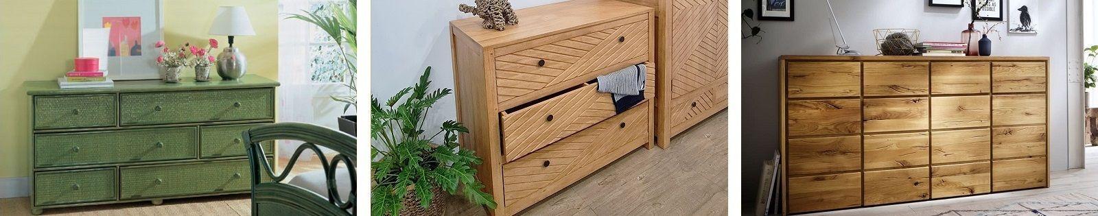 Commode exotique en bambou, fer forgé, rotin, et en bois massif : chêne, teck, hévéa. Lotuséa