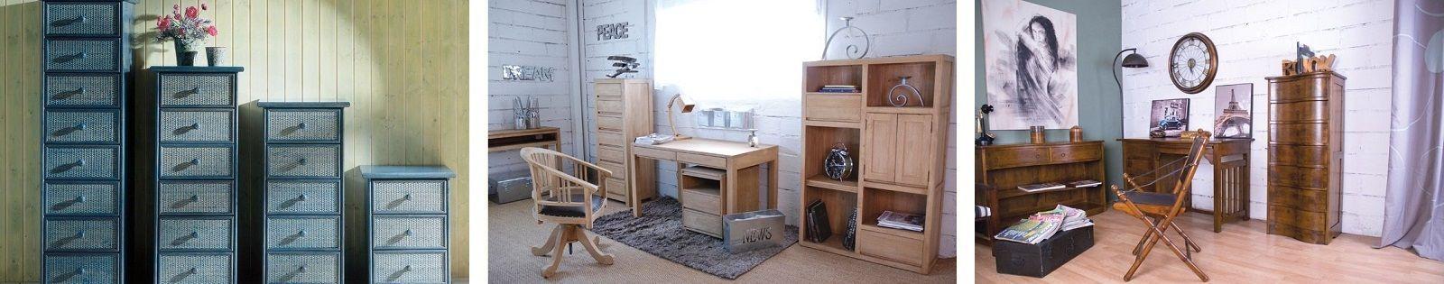 Chiffonnier en bois massif : teck, hévéa et exotique en rotin, fer forgé. Lotuséa