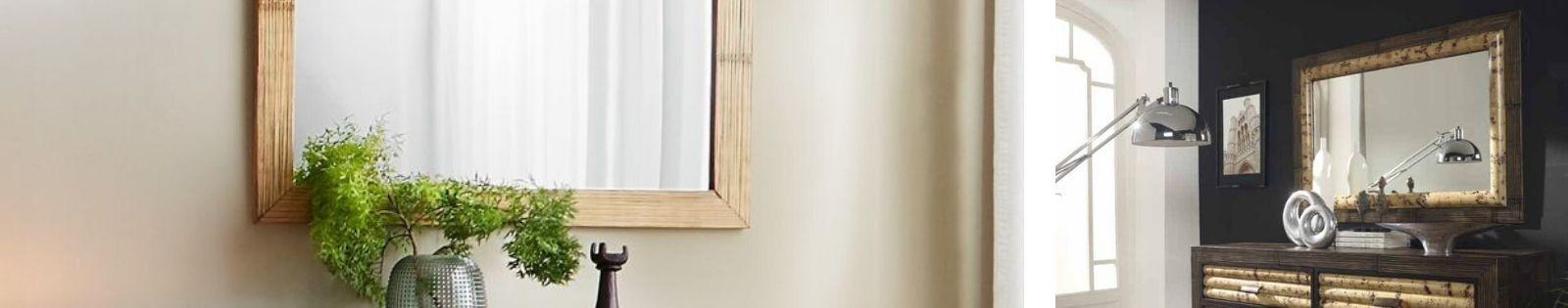 Miroirs en bambou. Décoration Haut de Gamme de fabrication artisanale.