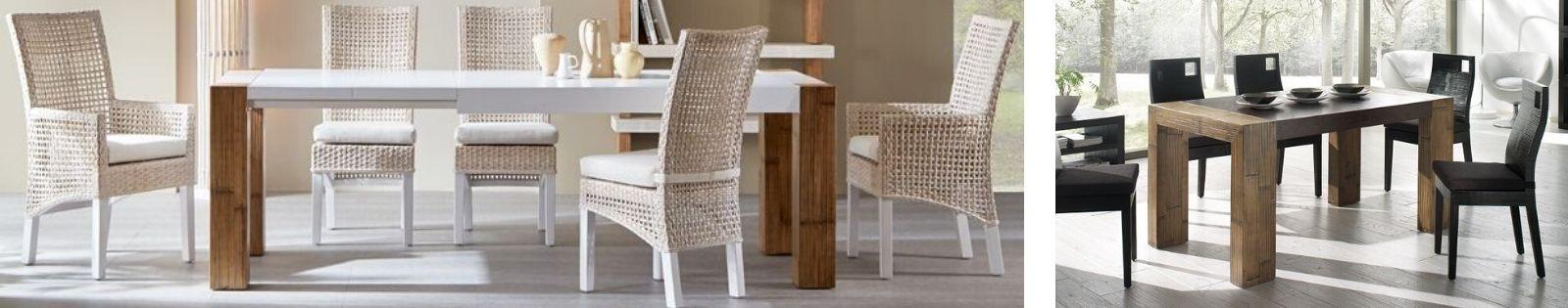 Salle à manger en bambou Haut de Gamme - Vente de table, chaise, buffet - Lotuséa