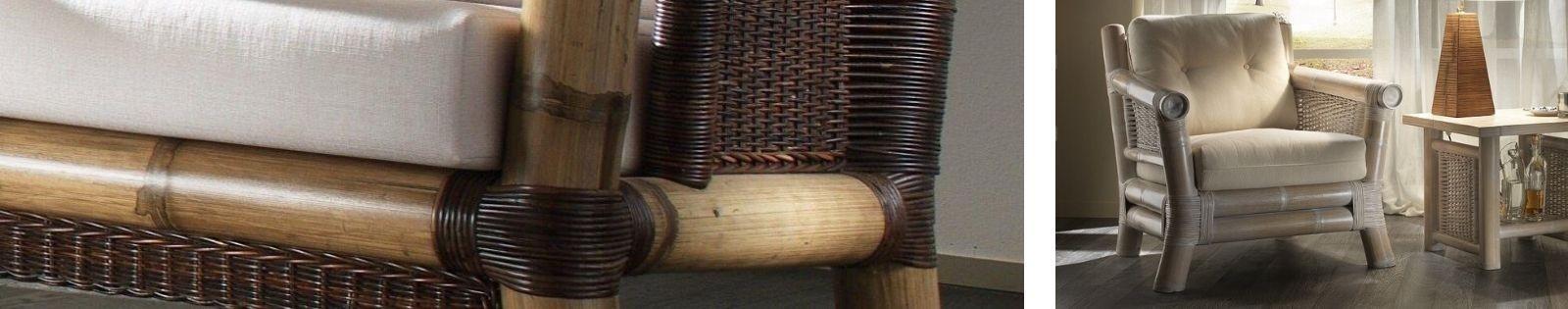 Fauteuil en bambou haut de gamme. Meuble pour le salon. Lotuséa