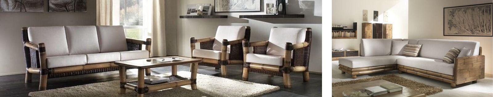 Canapé en bambou haute de gamme. Meuble pour le salon. Lotuséa