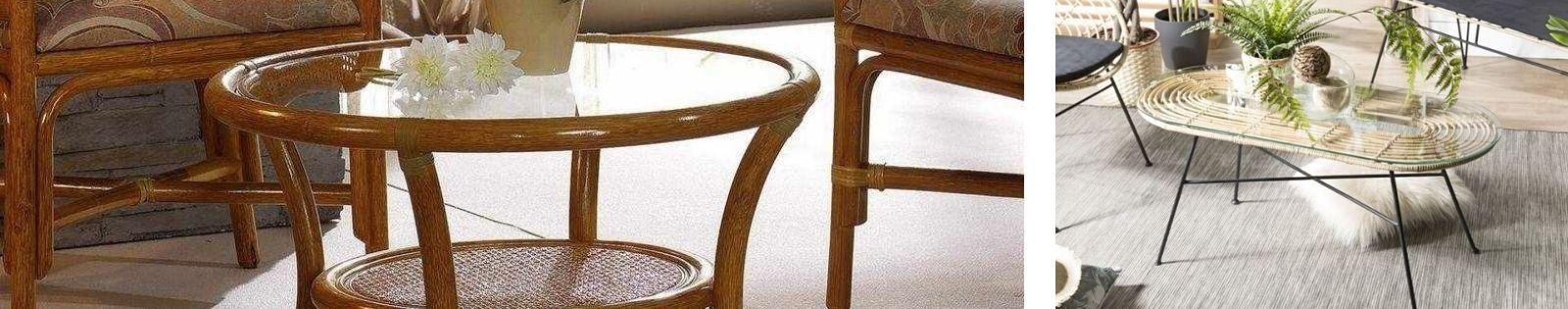 Table basse en rotin Haut de Gamme de fabrication artisanale.