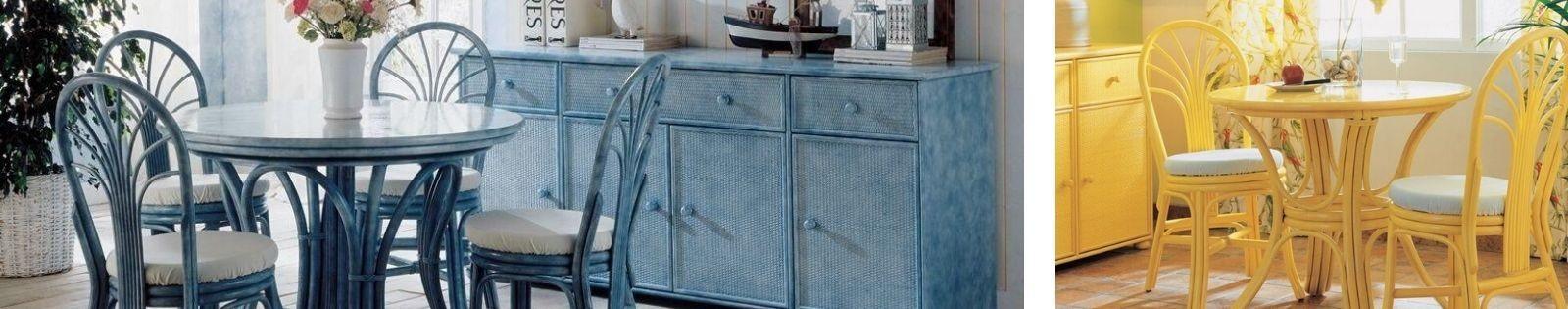 Table de salle à manger en rotin de qualité. Fabrication artisanale.